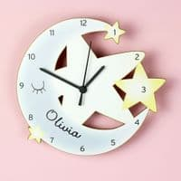 Personalised Moon and Stars Shape Wooden Clock